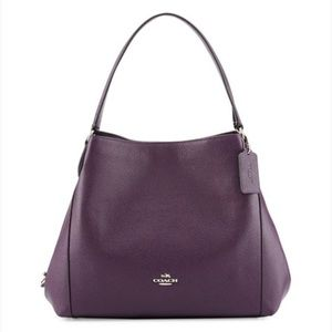 Coach purple/silver pebble leather Edie hand bag
